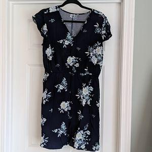 Gap Factory elastic waist navy floral dress, Large